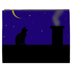 Cat On The Roof  Cosmetic Bag (xxxl)  by Valentinaart