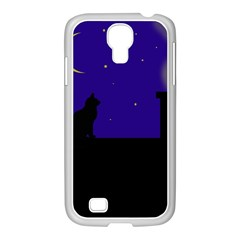 Cat On The Roof  Samsung Galaxy S4 I9500/ I9505 Case (white) by Valentinaart