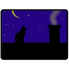 Cat On The Roof  Double Sided Fleece Blanket (large)  by Valentinaart