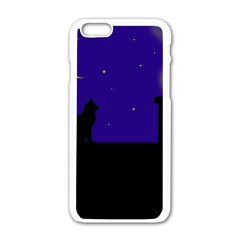 Cat On The Roof  Apple Iphone 6/6s White Enamel Case by Valentinaart