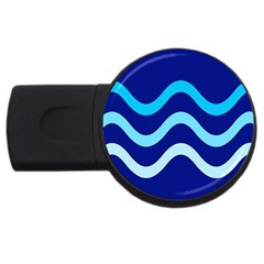 Blue Waves  Usb Flash Drive Round (4 Gb)  by Valentinaart
