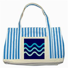 Blue Waves  Striped Blue Tote Bag by Valentinaart