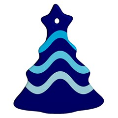 Blue Waves  Ornament (christmas Tree) by Valentinaart