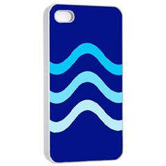 Blue Waves  Apple Iphone 4/4s Seamless Case (white) by Valentinaart