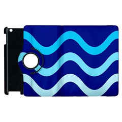 Blue Waves  Apple Ipad 3/4 Flip 360 Case by Valentinaart