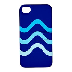 Blue Waves  Apple Iphone 4/4s Hardshell Case With Stand by Valentinaart