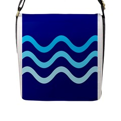 Blue Waves  Flap Messenger Bag (l)  by Valentinaart