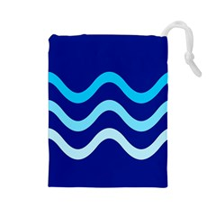 Blue Waves  Drawstring Pouches (large)  by Valentinaart