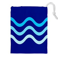 Blue Waves  Drawstring Pouches (xxl) by Valentinaart