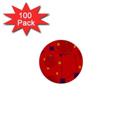 Red Abstract Sky 1  Mini Buttons (100 Pack)  by Valentinaart