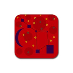 Red Abstract Sky Rubber Coaster (square)  by Valentinaart