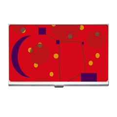 Red Abstract Sky Business Card Holders by Valentinaart