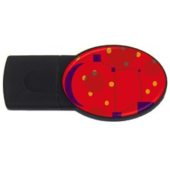 Red Abstract Sky Usb Flash Drive Oval (2 Gb)  by Valentinaart