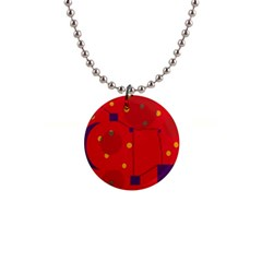 Red Abstract Sky Button Necklaces by Valentinaart