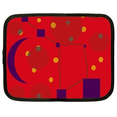 Red Abstract Sky Netbook Case (large) by Valentinaart
