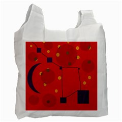 Red Abstract Sky Recycle Bag (one Side) by Valentinaart