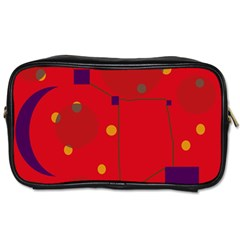 Red Abstract Sky Toiletries Bags by Valentinaart