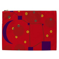 Red Abstract Sky Cosmetic Bag (xxl)  by Valentinaart