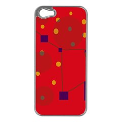 Red Abstract Sky Apple Iphone 5 Case (silver) by Valentinaart