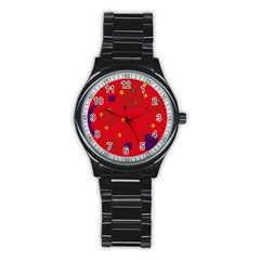 Red Abstract Sky Stainless Steel Round Watch by Valentinaart