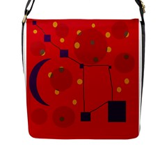 Red Abstract Sky Flap Messenger Bag (l)  by Valentinaart
