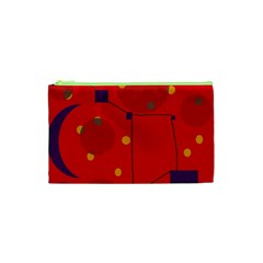 Red Abstract Sky Cosmetic Bag (xs) by Valentinaart