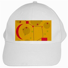 Yellow Abstract Sky White Cap by Valentinaart