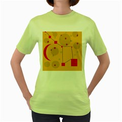 Yellow Abstract Sky Women s Green T Shirt by Valentinaart