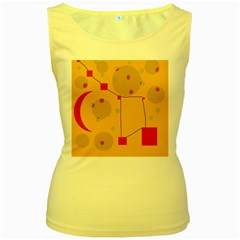 Yellow Abstract Sky Women s Yellow Tank Top by Valentinaart