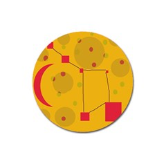 Yellow Abstract Sky Magnet 3  (round) by Valentinaart