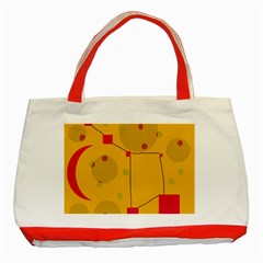 Yellow Abstract Sky Classic Tote Bag (red) by Valentinaart