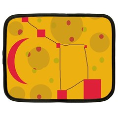 Yellow Abstract Sky Netbook Case (large) by Valentinaart