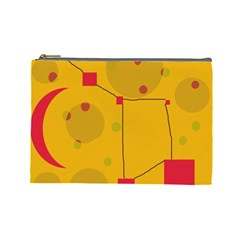 Yellow Abstract Sky Cosmetic Bag (large)  by Valentinaart