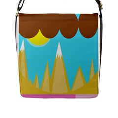Abstract Landscape  Flap Messenger Bag (l)  by Valentinaart
