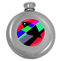 Abstract fish Round Hip Flask (5 oz) by Valentinaart