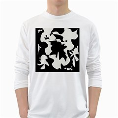 Black And White Elegant Design White Long Sleeve T Shirts by Valentinaart