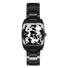 Black And White Elegant Design Stainless Steel Barrel Watch by Valentinaart
