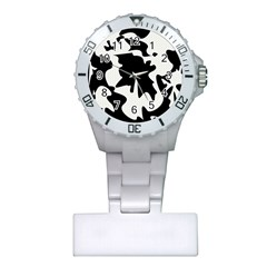 Black And White Elegant Design Plastic Nurses Watch by Valentinaart