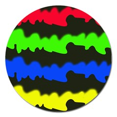 Colorful Abstraction Magnet 5  (round) by Valentinaart