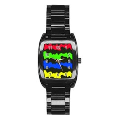 Colorful Abstraction Stainless Steel Barrel Watch by Valentinaart