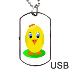 Cute Chicken  Dog Tag Usb Flash (one Side) by Valentinaart