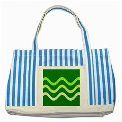 Green Waves Striped Blue Tote Bag by Valentinaart
