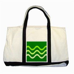 Green Waves Two Tone Tote Bag by Valentinaart