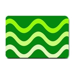 Green Waves Small Doormat  by Valentinaart
