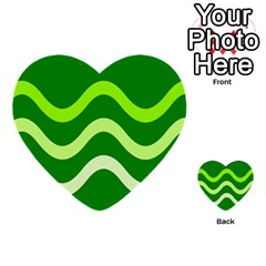 Green Waves Multi Purpose Cards (heart)  by Valentinaart
