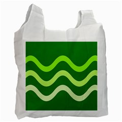 Green Waves Recycle Bag (one Side) by Valentinaart
