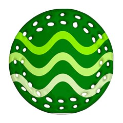Green Waves Round Filigree Ornament (2side) by Valentinaart