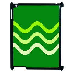 Green Waves Apple Ipad 2 Case (black) by Valentinaart