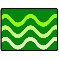 Green Waves Double Sided Fleece Blanket (large)  by Valentinaart