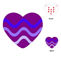 Purple Waves Playing Cards (heart)  by Valentinaart